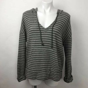 Soft Joie Evita Hoodie Gray Striped Drawstring L
